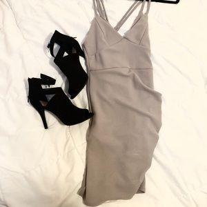 Ice grey wrap dress